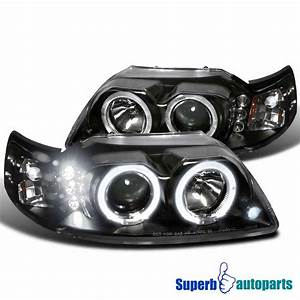 1999 2004 Ford Mustang LED Halo Projector Headlights Black Specd Tuning | eBay
