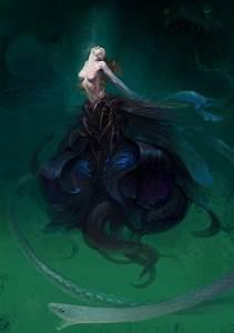 fantasy-art-engine: Dark Mermaid by Hide Tosh - Manga ...