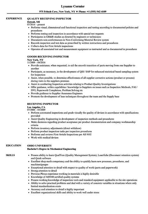 Quality Inspector Resume by Receiving Inspector Resume Sles Velvet