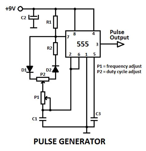 555 pulse generator with adjustable duty cycle