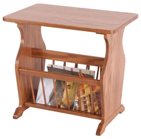 side table with l and magazine rack four seasons furnishings amish made furniture end table