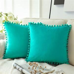 Phantoscope, Pom, Pom, Velvet, Series, Decorative, Throw, Pillow, 18, U0026quot, X, 18, U0026quot, Turquoise, 2, Pack
