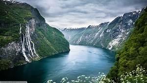 Seven, Sisters, Waterfall, Norway, Mountain, Landscape