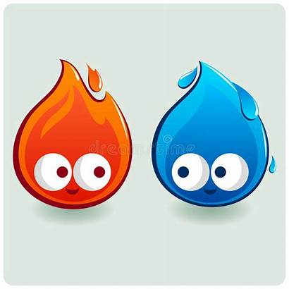 Fire Water Cartoon Cold Characters Thermometers Drop