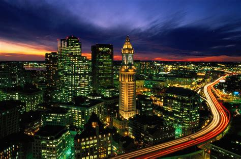 Boston Night Aerial With Time Exposure Photograph By Joel