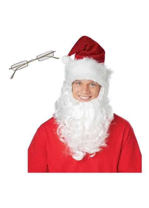 santa hat beard  glasses men costume accessory set