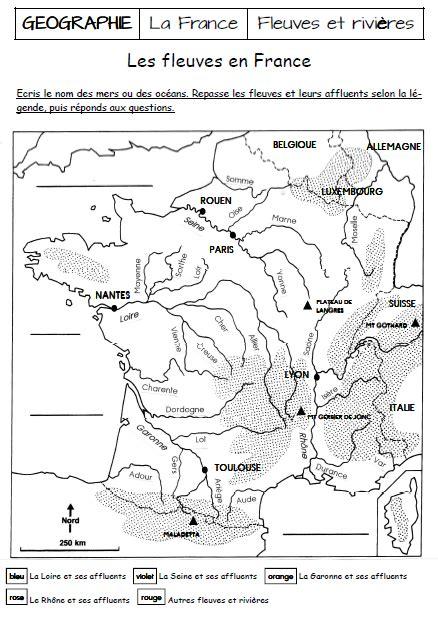 Carte Des Fleuves De Ce2 by Fleuves De Cm1 Exercices