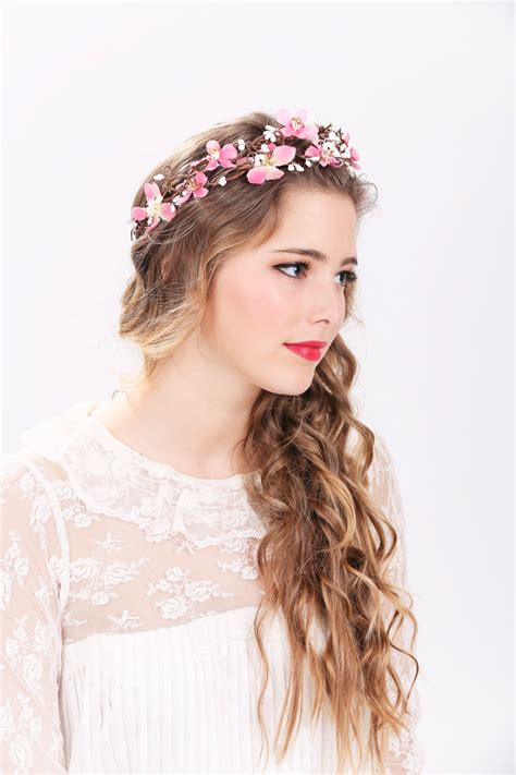 pink flower crown wedding headpiece flower crown bridal