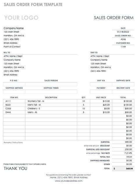 order form templates smartsheet