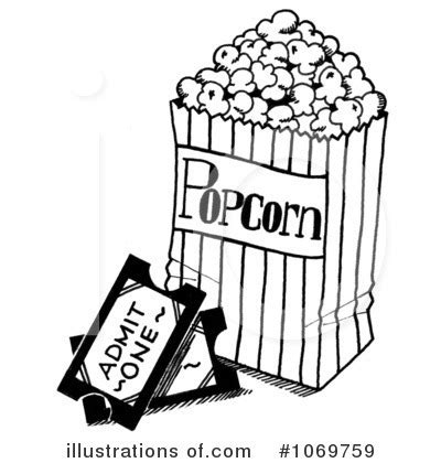 Popcorn Clip Art Black and White