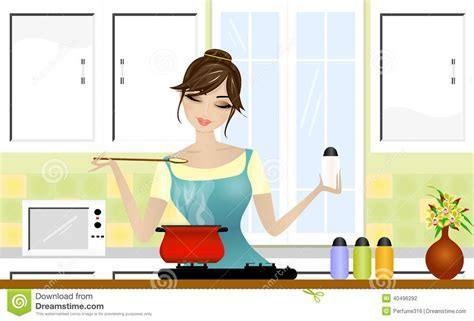 Beautiful Lady Cooking Stock Illustration   Image: 40496292
