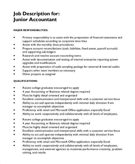 Office Junior Description Template by 10 Description Sles Sle Templates