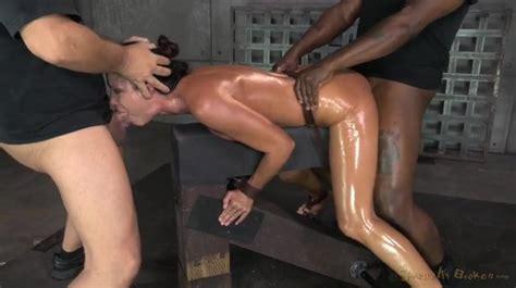 Spit Roasted Slut India Summer In Sexy Bondage Threesome