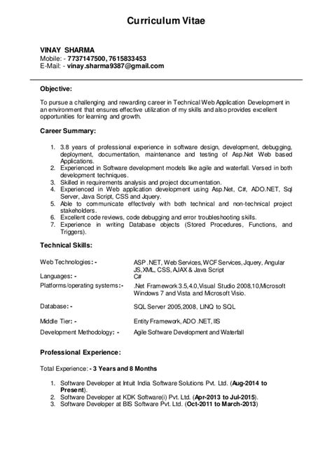 Asp Mvc Developer Resume Sle by Asp Net Sle Resume 28 Images Asp Net Senior Developer