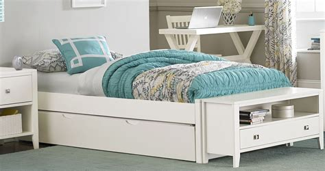 pulse white twin platform bed  trundle  ne kids