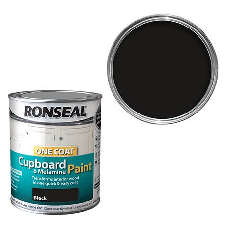 Ronseal Cupboard Paint Reviews by Ronseal One Coat Cupboard Melamine Paint Black Gloss