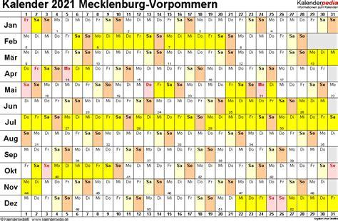 kalender mecklenburg vorpommern ferien feiertage vorlagen