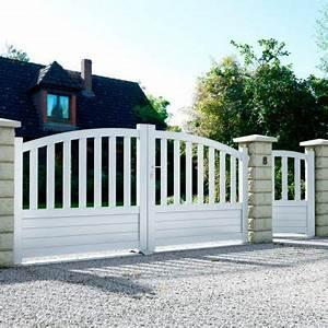 Moteur Portail Coulissant Castorama : portail en aluminium loja blanc castorama ~ Dallasstarsshop.com Idées de Décoration