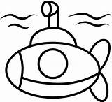 Coloring Submarine Underwater Yellow Drawing sketch template