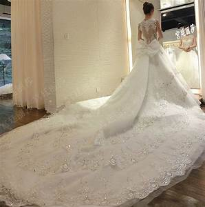 Super Long Train Wedding Dresses 2016 Luxury Lace Ball