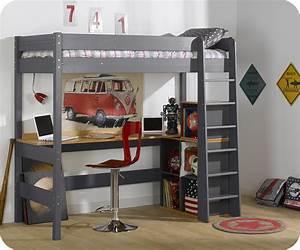 Lit En Mezzanine : bureau pour lit mezzanine clay ~ Teatrodelosmanantiales.com Idées de Décoration