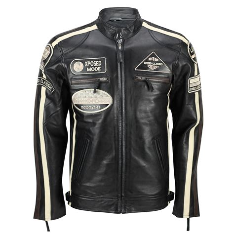 retro motorcycle jacket mens real soft leather fitted racing biker jacket vintage