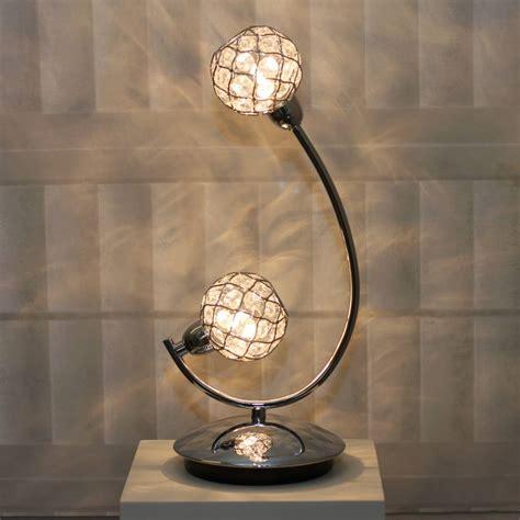 glass beaded ball table lamp polished chrome lightbox