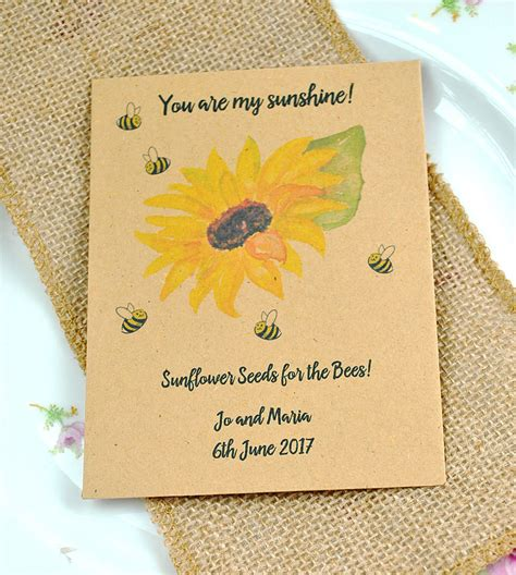 quirky  beautiful wedding favour  sunflower seeds