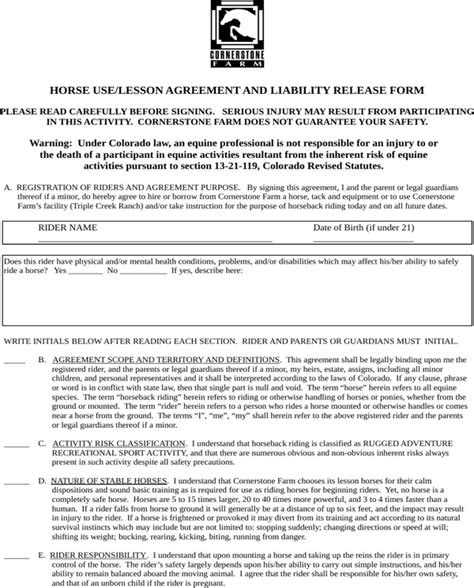 colorado real estate purchase agreement simple form download colorado horse use or lesson agreement and