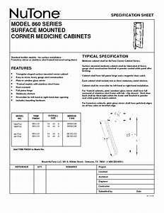 Surface Mounted Corner Medicine Cabinets 860 Manuals