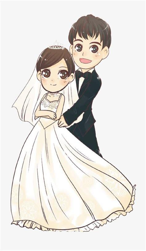 cartoon bride  groom wedding dress invitation card