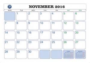 November 2016 Calendar with Holidays