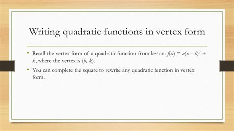 write the function in vertex form 2 4 completing the square ppt download