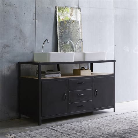 meuble sous vasque en mtal noir et manguier pour salle de