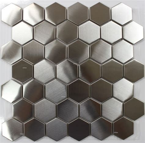 "STAINLESS STEEL HEXAGON 2"" Mosaic Back splash Wall Tile"