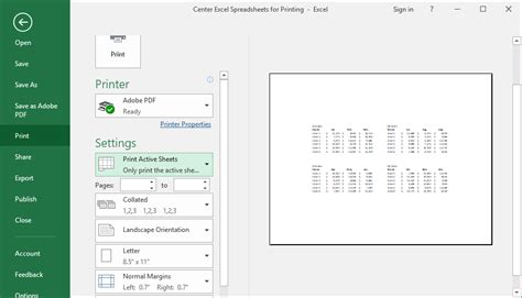 center excel spreadsheets  printing teachexcelcom