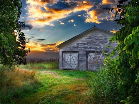 barn  sunset desktop wallpapers hd