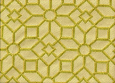 Woven Stained Glass Geometric Shapes Green Yellow Ivory