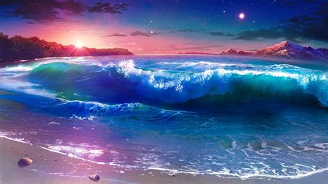 Full Moon Sky Wallpaper Starry Night Over The Seashore Fantasy Landscape Wallpaper Wallpaper Studio 10 Tens Of