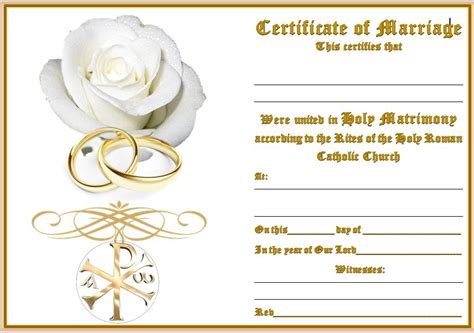 wedding certificate  rings rose catholicshop