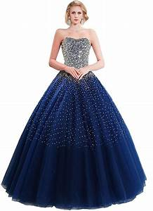 Sparkly Ball Gown Strapless Navy Blue Tulle Beaded Prom ...