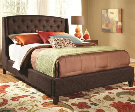upholstered bed  brown fabric  coaster