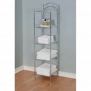 essential home chrome tower 5 shelf home furniture With kmart bathroom furniture