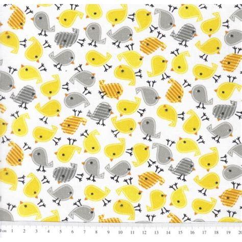 TC497 Tecido passarinhos amarelo e cinza no Elo7 ...