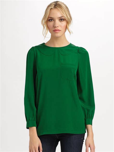 blouson blouse green silk blouses silk pintuck blouse
