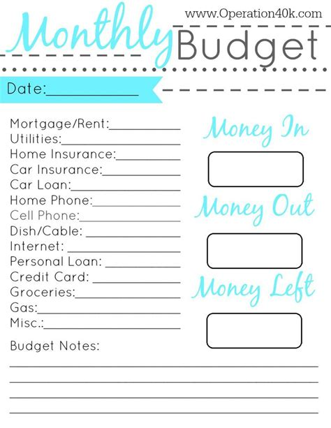20 free printable monthly budget planners baby