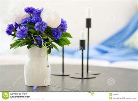 vase  blue flowers  modern living room stock image