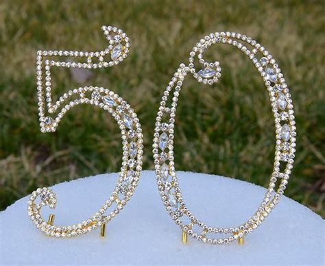 new 5 quot gold bling rhinestone number 50 cake