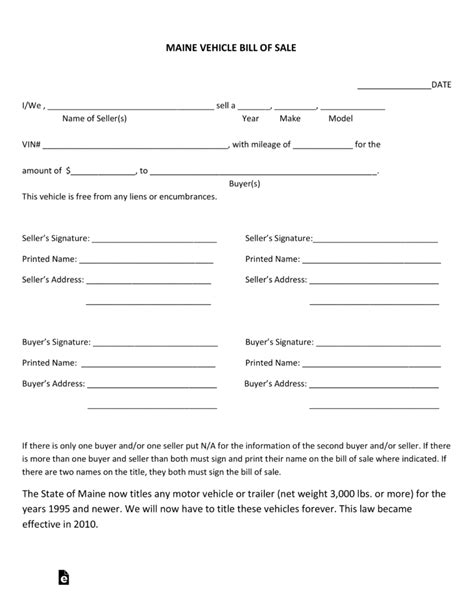 Boat Bill Of Sale Maine by Free Maine Motor Vehicle Bill Of Sale Form Pdf Eforms