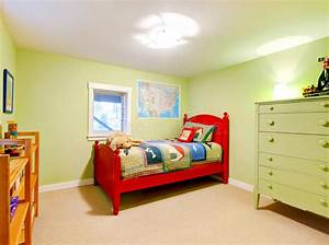 Green Boys Kids Bedroom With Red Bed Stock Image Image